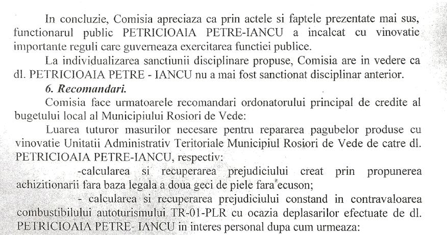 recomandarea comisiei de disciplina