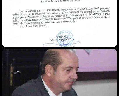 Victor Drăgușin minte presa pe cale oficială! Firma finului său, Octavian Teodorescu, are în prezent contracte cu primăria, iar finul a fost uns director…
