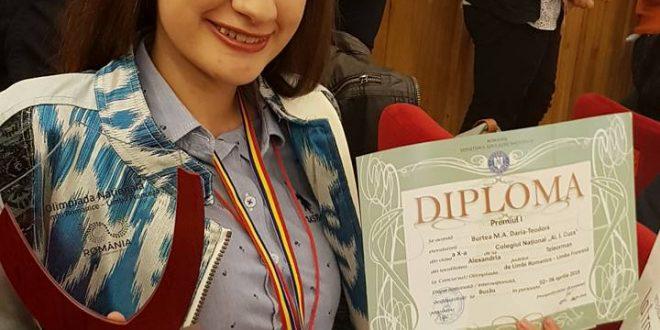 Pentru al doilea an consecutiv, Daria Burtea, prima pe țară la olimpiada de franceză