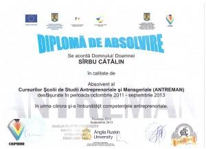 Catalin Sarbu diploma