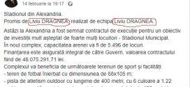 Peste 48 de milioane lei investește guvernul într-un stadion din Alexandria, iar primarul Drăgușin îi mulțumește din inimă lui Liviu DRAGNEA (cu majuscule)